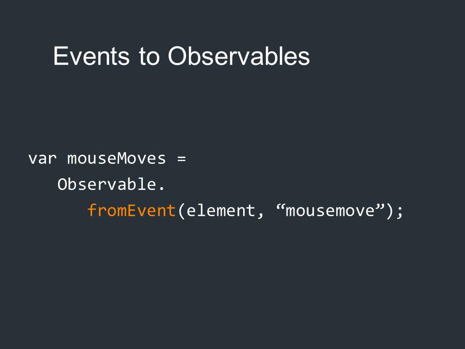 "Events to Observables var mouseMoves = Observable. fromEvent(element, ""mousemove"");"