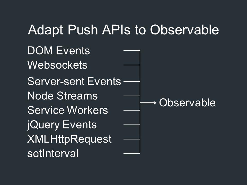 Adapt Push APIs to Observable DOM Events Websockets Server-sent Events Node Streams Service Workers jQuery Events XMLHttpRequest setInterval Observabl