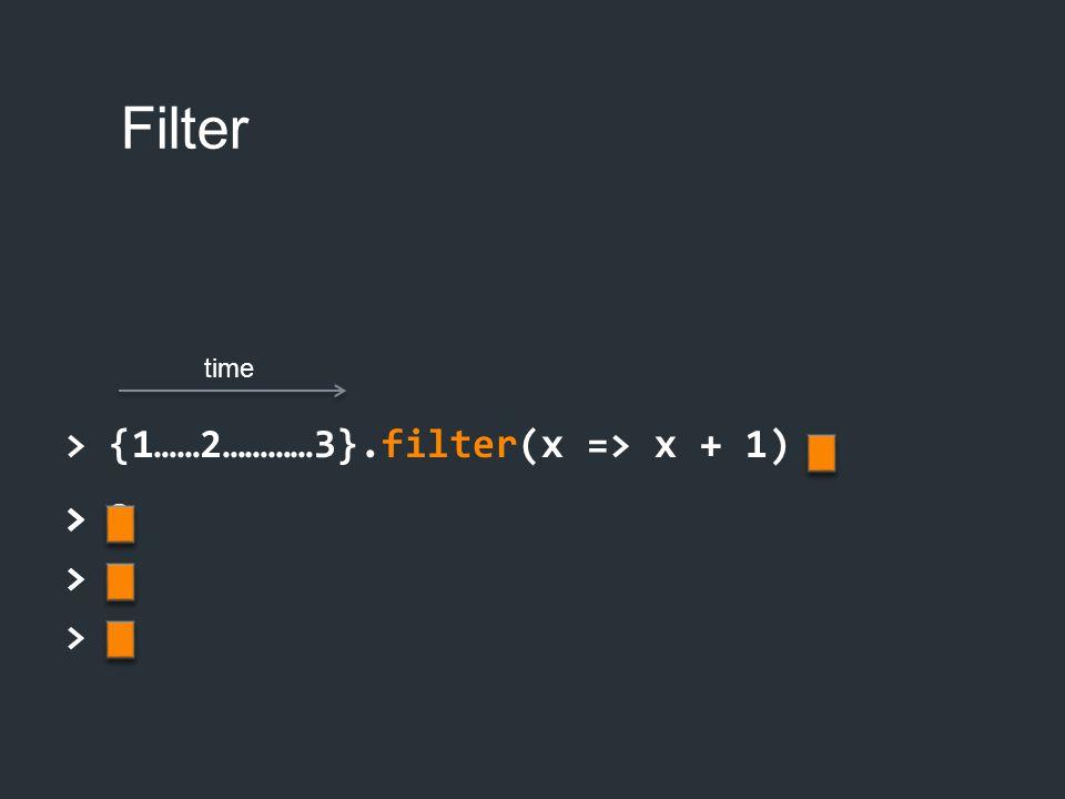 > 2 > 3 > Filter > {1……2…………3}.filter(x => x + 1) > > 2 > time