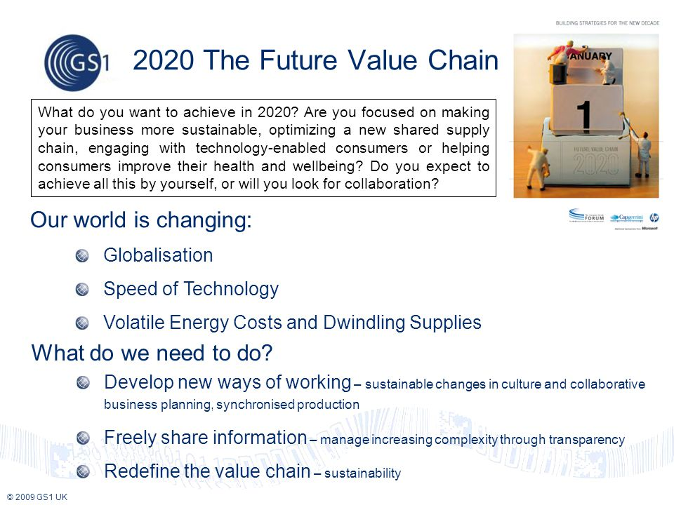 © 2009 GS1 UK Our world is changing: Globalisation Speed of Technology Volatile Energy Costs and Dwindling Supplies 2020 The Future Value Chain What do we need to do.