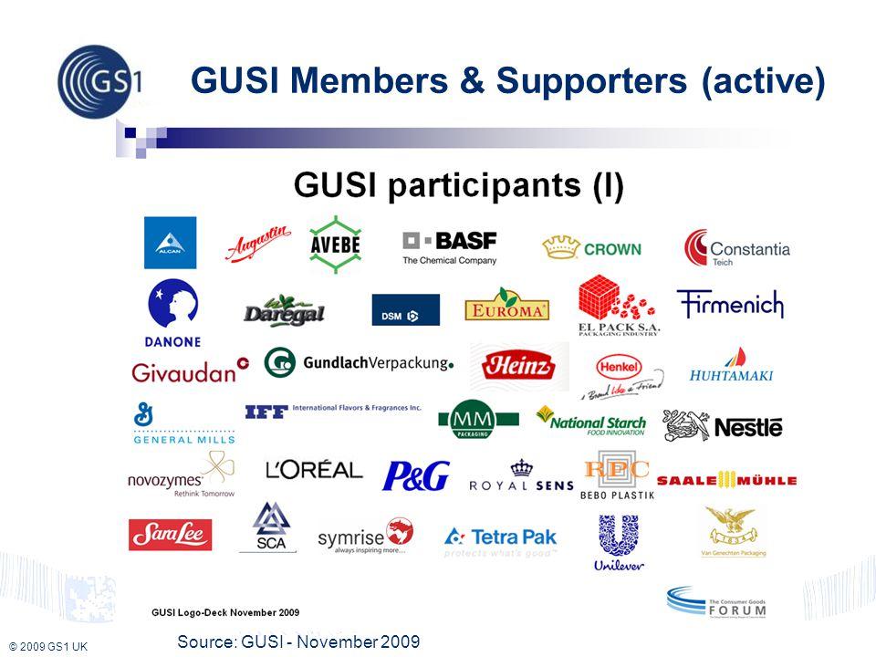 © 2009 GS1 UK GUSI Members & Supporters (active) Source: GUSI - November 2009