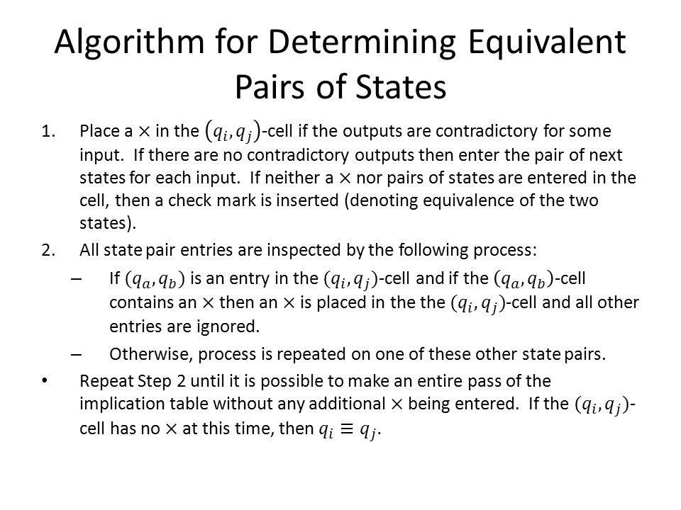 Algorithm for Determining Equivalent Pairs of States