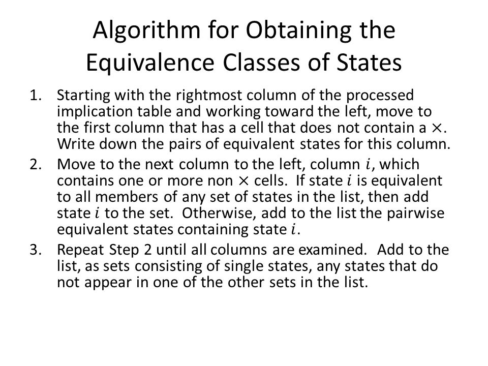 Algorithm for Obtaining the Equivalence Classes of States