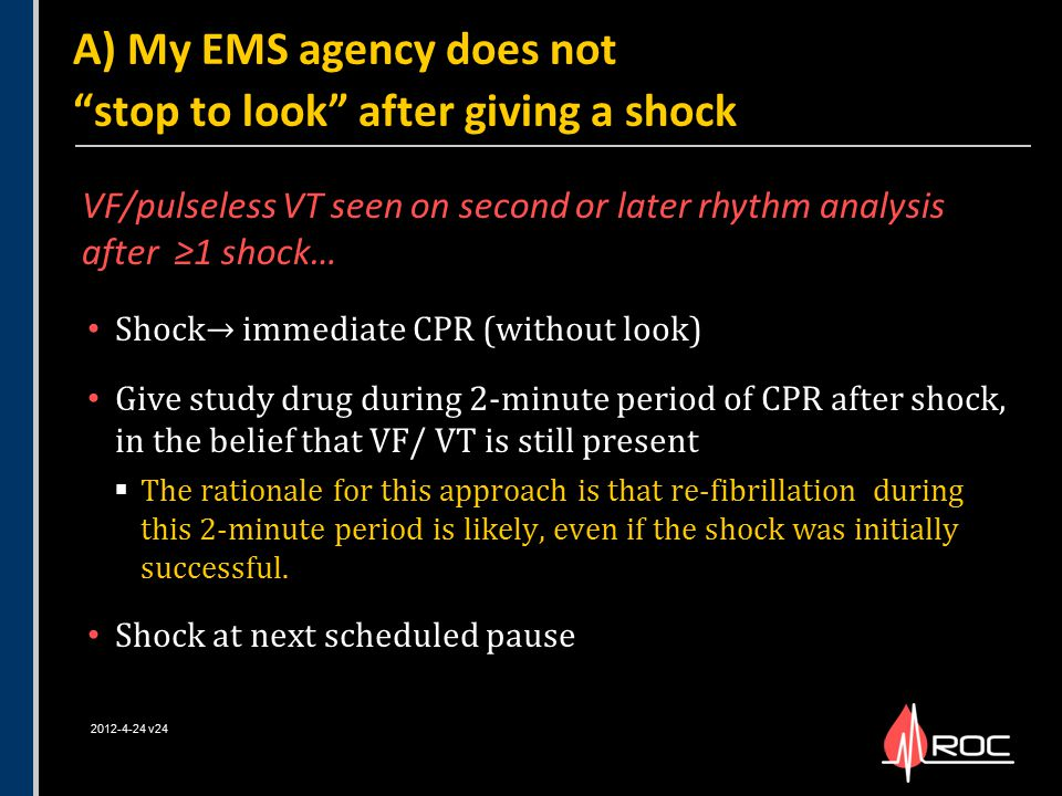 Shock→ immediate CPR (without look) Give study drug during 2-minute period of CPR after shock, in the belief that VF/ VT is still present  The ration