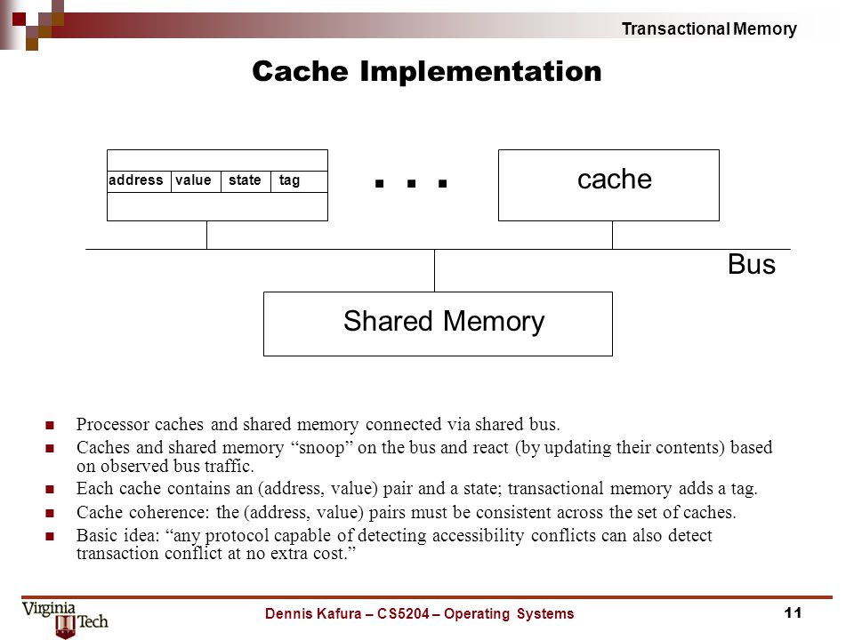 Transactional Memory Dennis Kafura – CS5204 – Operating Systems Cache Implementation Processor caches and shared memory connected via shared bus.