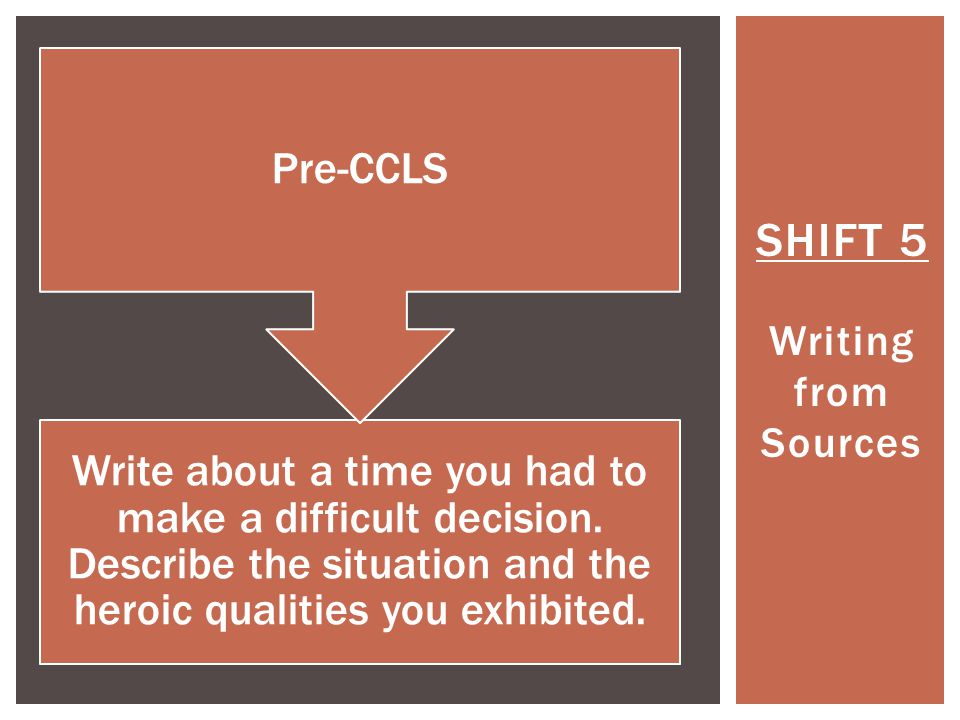 SHIFT 5 Writing from Sources Write about a time you had to make a difficult decision.