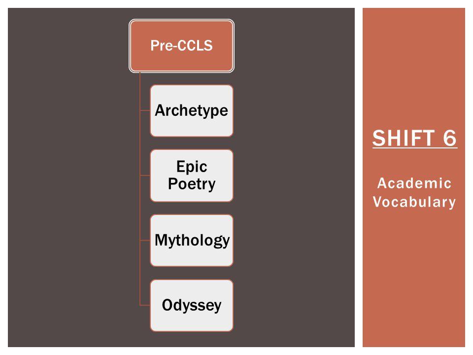 SHIFT 6 Academic Vocabulary Pre-CCLS Archetype Epic Poetry MythologyOdyssey