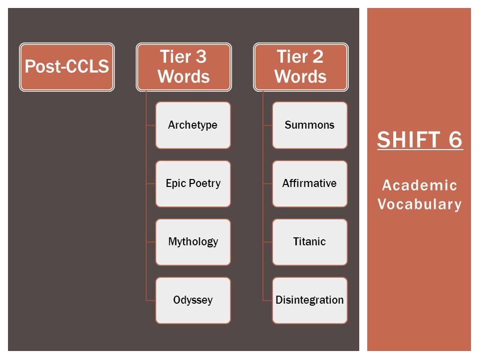 SHIFT 6 Academic Vocabulary Post-CCLS Tier 3 Words ArchetypeEpic PoetryMythologyOdyssey Tier 2 Words SummonsAffirmativeTitanicDisintegration
