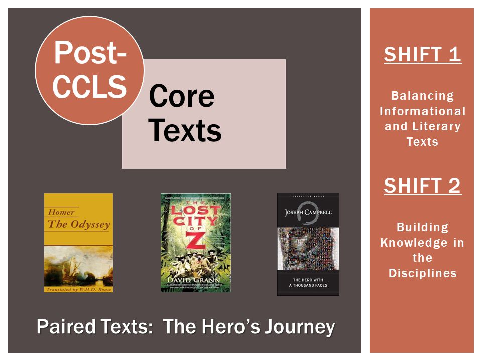 SHIFT 1 Balancing Informational and Literary Texts SHIFT 2 Building Knowledge in the Disciplines Paired Texts: The Hero's Journey Core Texts Post- CCLS