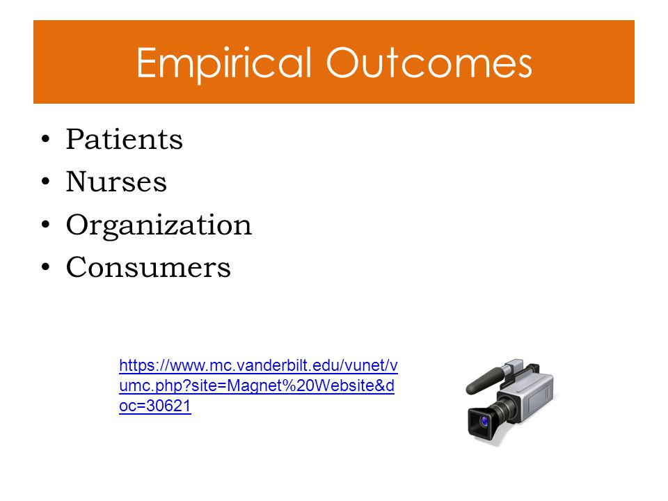Empirical Outcomes Patients Nurses Organization Consumers https://www.mc.vanderbilt.edu/vunet/v umc.php?site=Magnet%20Website&d oc=30621