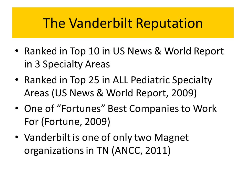 The Vanderbilt Reputation Ranked in Top 10 in US News & World Report in 3 Specialty Areas Ranked in Top 25 in ALL Pediatric Specialty Areas (US News &