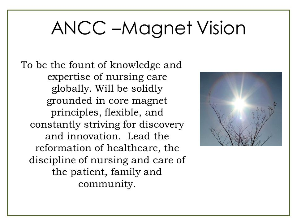 ANCC –Magnet Vision To be the fount of knowledge and expertise of nursing care globally. Will be solidly grounded in core magnet principles, flexible,