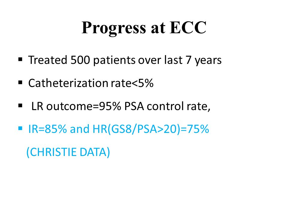 Progress at ECC  Treated 500 patients over last 7 years  Catheterization rate<5%  LR outcome=95% PSA control rate,  IR=85% and HR(GS8/PSA>20)=75% (CHRISTIE DATA)