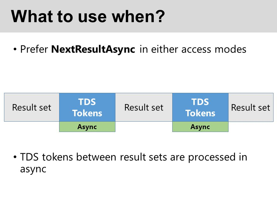 What to use when? Prefer NextResultAsync in either access modes TDS tokens between result sets are processed in async Result set TDS Tokens Async Resu