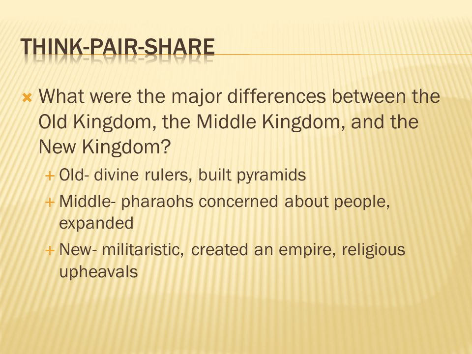  What were the major differences between the Old Kingdom, the Middle Kingdom, and the New Kingdom?  Old- divine rulers, built pyramids  Middle- pha