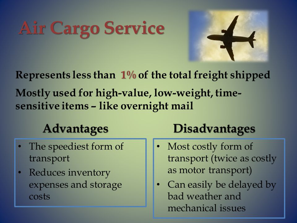 Air Cargo Service Advantages The speediest form of transport Reduces inventory expenses and storage costs Disadvantages Most costly form of transport (twice as costly as motor transport) Can easily be delayed by bad weather and mechanical issues 1% Represents less than 1% of the total freight shipped Mostly used for high-value, low-weight, time- sensitive items – like overnight mail