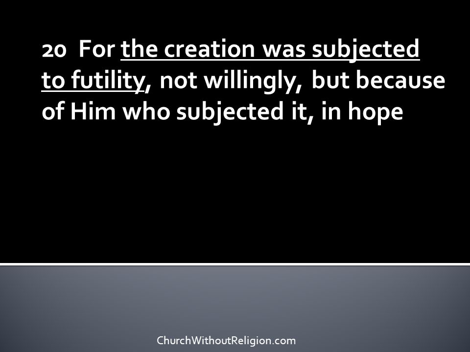 21 that the creation itself also will be set free from its slavery to corruption into the freedom of the glory of the children of God.