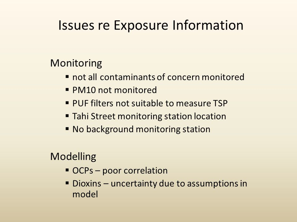 Issues re Exposure Information Monitoring  not all contaminants of concern monitored  PM10 not monitored  PUF filters not suitable to measure TSP 