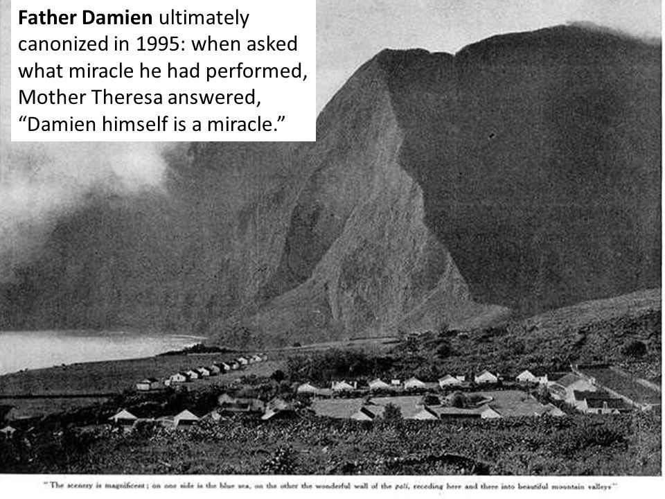 "Father Damien ultimately canonized in 1995: when asked what miracle he had performed, Mother Theresa answered, ""Damien himself is a miracle."""