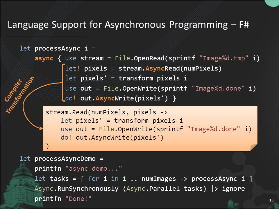 Language Support for Asynchronous Programming – F# 13 let processAsync i = async { use stream = File.OpenRead(sprintf Image%d.tmp i) let.