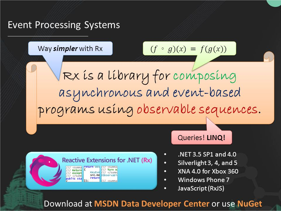 Event Processing Systems Rx is a library for composing asynchronous and event-based programs using observable sequences.