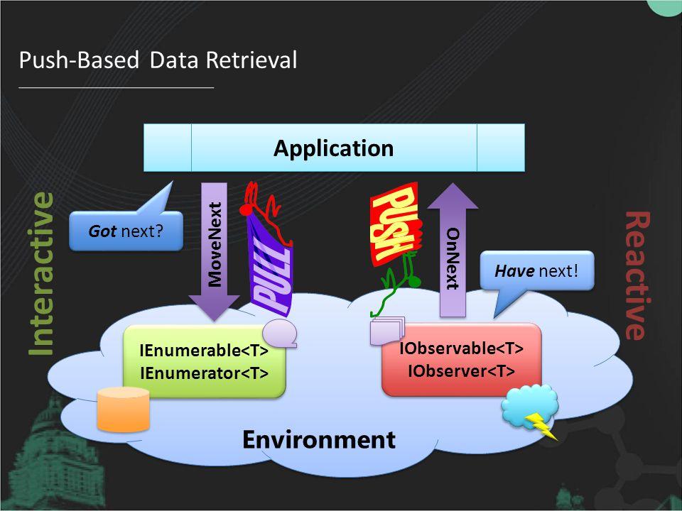 Environment MoveNext Got next.Application OnNext Have next.