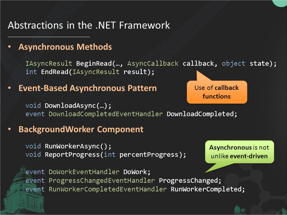 Abstractions in the.NET Framework Asynchronous Methods Event-Based Asynchronous Pattern BackgroundWorker Component IAsyncResult BeginRead(…, AsyncCallback callback, object state); int EndRead(IAsyncResult result); void DownloadAsync(…); event DownloadCompletedEventHandler DownloadCompleted; void RunWorkerAsync(); void ReportProgress(int percentProgress); event DoWorkEventHandler DoWork; event ProgressChangedEventHandler ProgressChanged; event RunWorkerCompletedEventHandler RunWorkerCompleted; Asynchronous is not unlike event-driven Use of callback functions