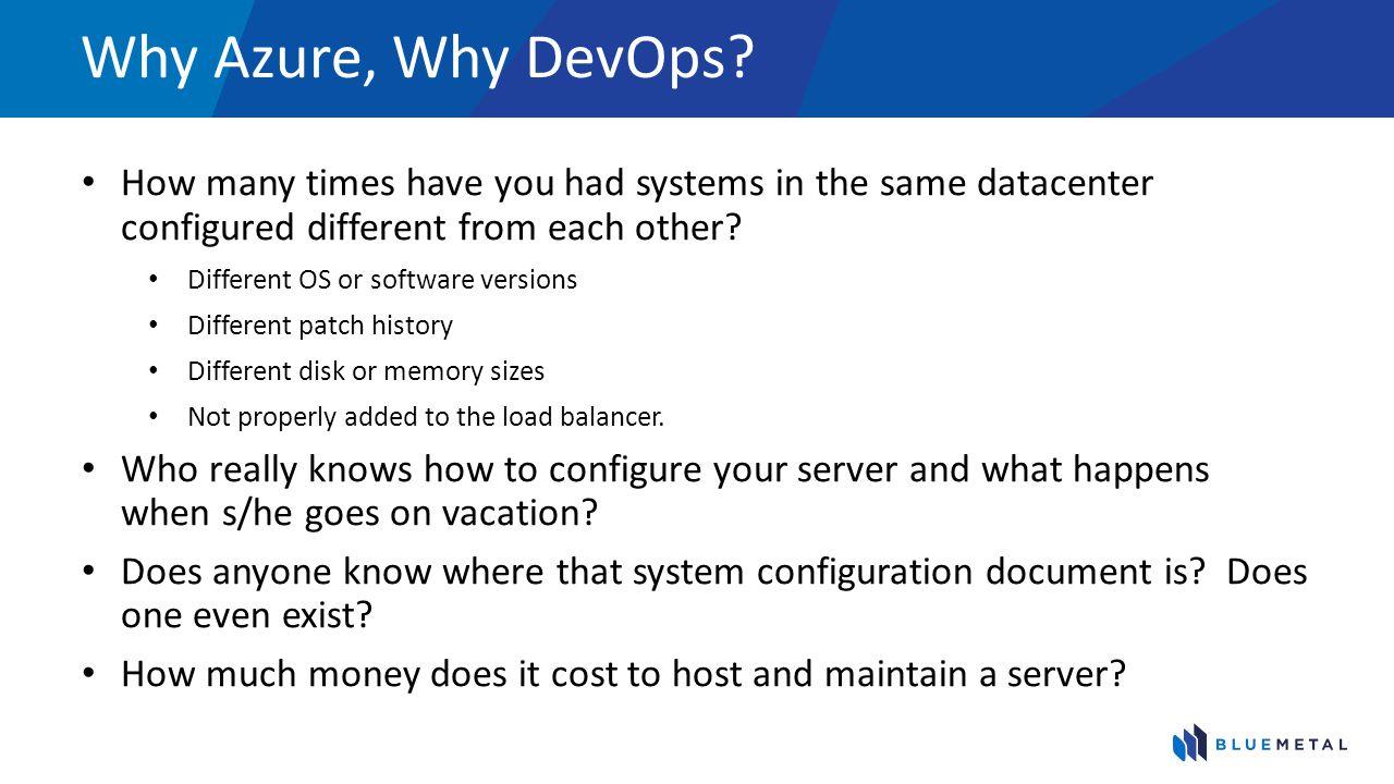 Why Azure, Why DevOps.