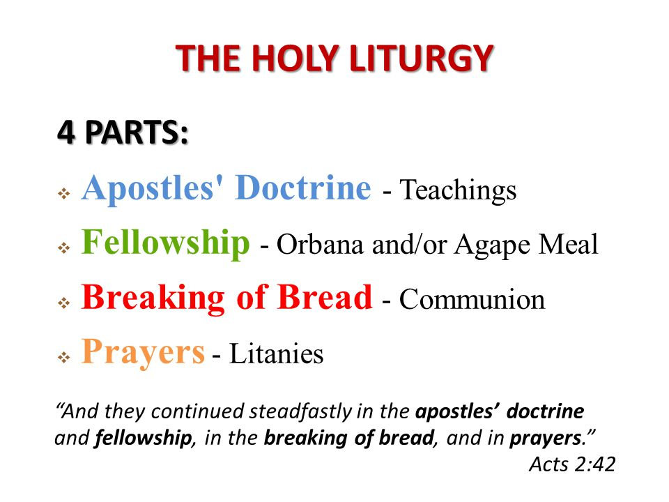 4 PARTS:  Apostles Doctrine - Teachings  Fellowship - Orbana and/or Agape Meal  Breaking of Bread - Communion  Prayers - Litanies And they continued steadfastly in the apostles' doctrine and fellowship, in the breaking of bread, and in prayers. Acts 2:42
