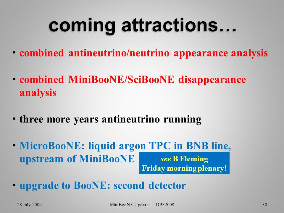  combined antineutrino/neutrino appearance analysis  combined MiniBooNE/SciBooNE disappearance analysis  three more years antineutrino running  MicroBooNE: liquid argon TPC in BNB line, upstream of MiniBooNE  upgrade to BooNE: second detector 28 July 2009MiniBooNE Update -- DPF200930 see B Fleming Friday morning plenary!
