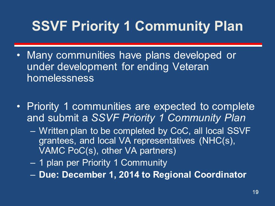 SSVF Priority 1 Community Plan Many communities have plans developed or under development for ending Veteran homelessness Priority 1 communities are expected to complete and submit a SSVF Priority 1 Community Plan –Written plan to be completed by CoC, all local SSVF grantees, and local VA representatives (NHC(s), VAMC PoC(s), other VA partners) –1 plan per Priority 1 Community –Due: December 1, 2014 to Regional Coordinator 19