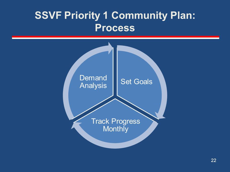SSVF Priority 1 Community Plan: Process Set Goals Track Progress Monthly Demand Analysis 22