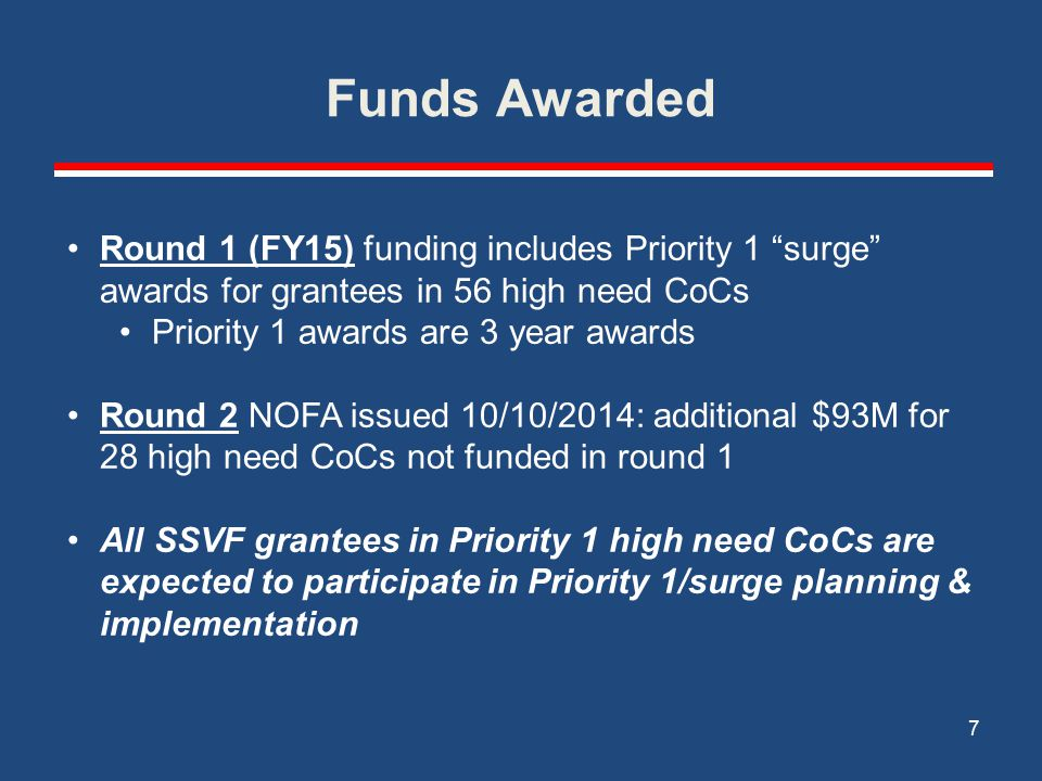 Funds Awarded 7 Round 1 (FY15) funding includes Priority 1 surge awards for grantees in 56 high need CoCs Priority 1 awards are 3 year awards Round 2 NOFA issued 10/10/2014: additional $93M for 28 high need CoCs not funded in round 1 All SSVF grantees in Priority 1 high need CoCs are expected to participate in Priority 1/surge planning & implementation