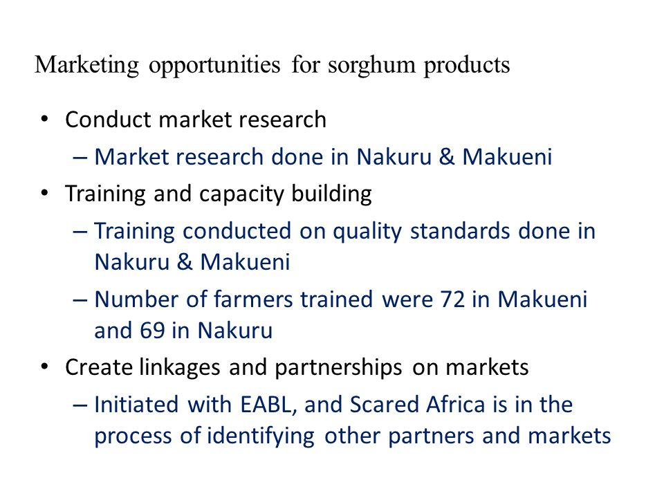 Marketing opportunities for sorghum products Conduct market research – Market research done in Nakuru & Makueni Training and capacity building – Train