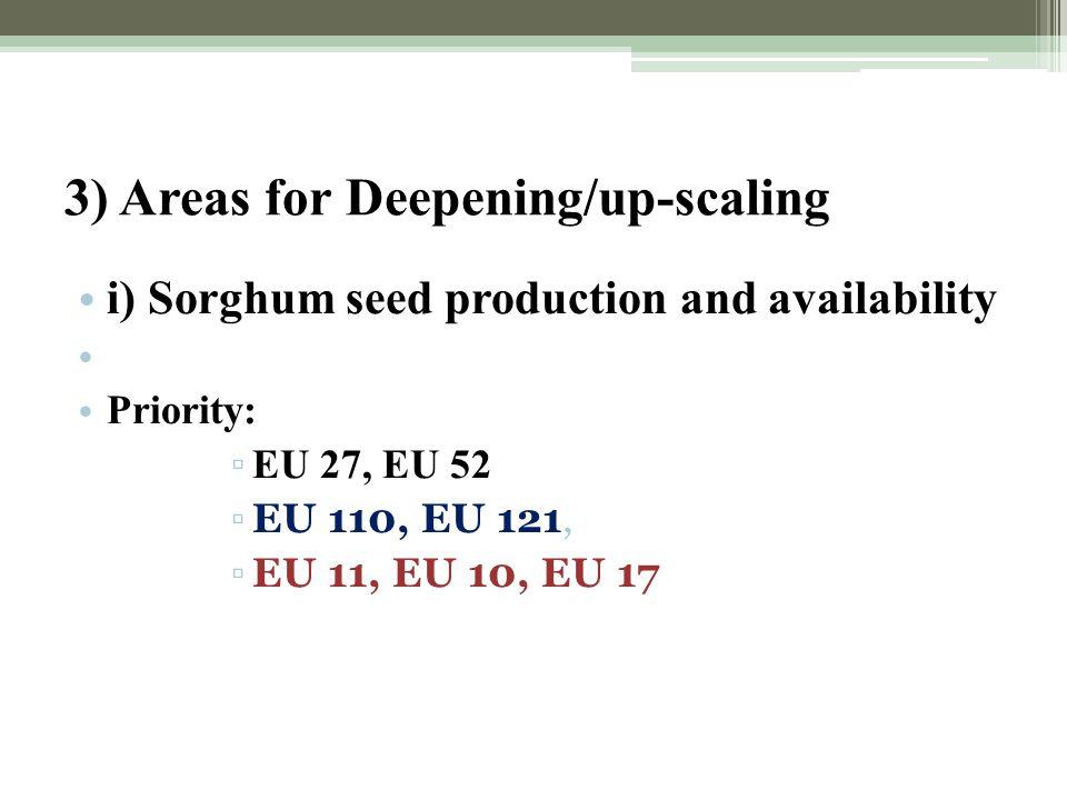 3) Areas for Deepening/up-scaling i) Sorghum seed production and availability Priority: ▫ EU 27, EU 52 ▫EU 110, EU 121, ▫EU 11, EU 10, EU 17
