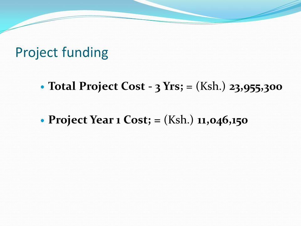 Project funding Total Project Cost - 3 Yrs; = (Ksh.) 23,955,300 Project Year 1 Cost; = (Ksh.) 11,046,150