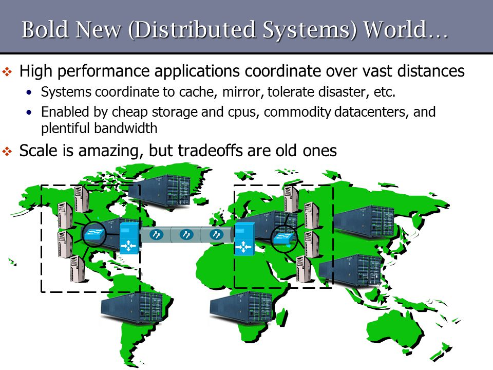 Bold New (Distributed Systems) World…  High performance applications coordinate over vast distances Systems coordinate to cache, mirror, tolerate dis