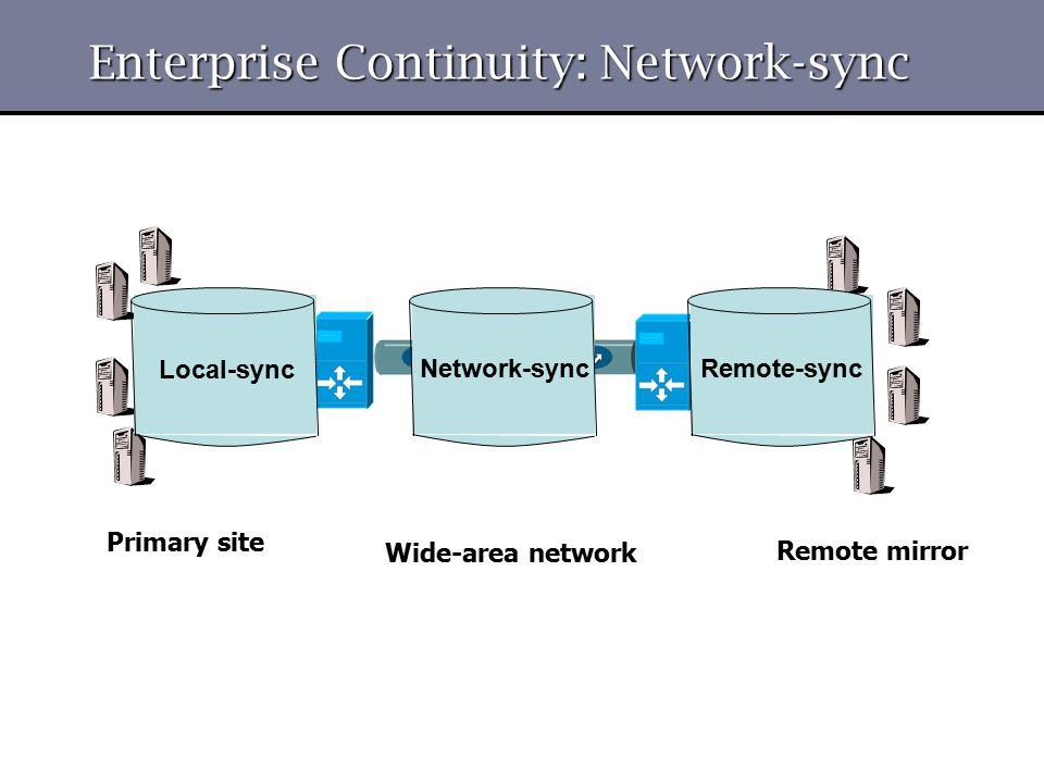 Enterprise Continuity: Network-sync Local-sync Network-syncRemote-sync Wide-area network Primary site Remote mirror
