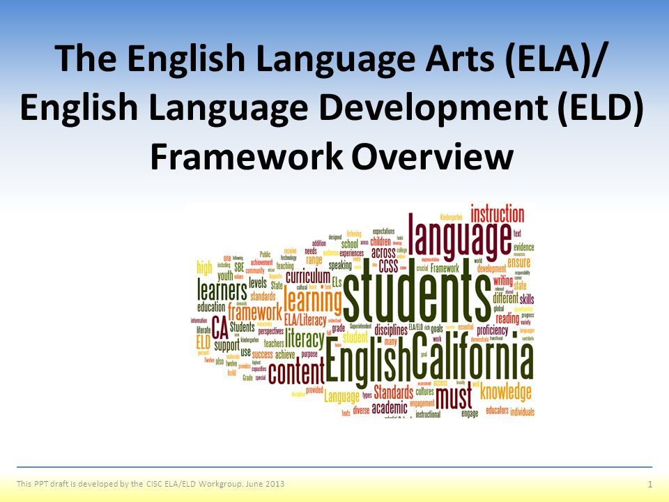 Outcomes To define the intent of the framework; highlighting how it is different from our past framework To explore the guiding principles, the structure, and the contents of the framework To explain why the framework combines English Language Arts and English Language Development standards and expectations To illustrate the differences between Integrated and Designated ELD 2 This PPT draft is developed by the CISC ELA/ELD Workgroup.