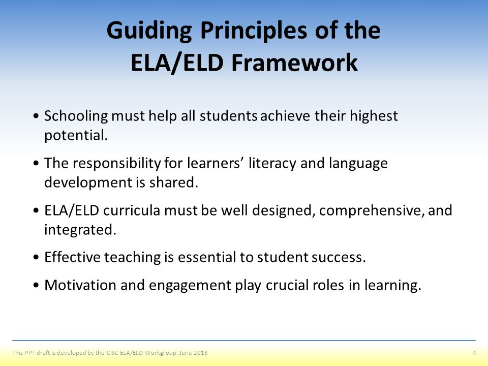 Chapter 2: Key Considerations in ELA/Literacy and ELD Curriculum, Instruction, and Assessment Outcomes To review the sections of Chapter 2 To illustrate the differences between Integrated and Designated ELD 25 This PPT draft is developed by the CISC ELA/ELD Workgroup.