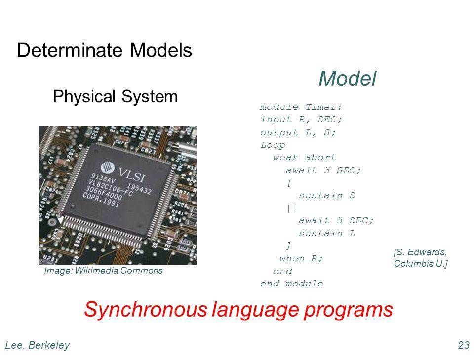 Determinate Models Physical System Model Synchronous language programs Lee, Berkeley23 module Timer: input R, SEC; output L, S; Loop weak abort await 3 SEC; [ sustain S || await 5 SEC; sustain L ] when R; end end module [S.