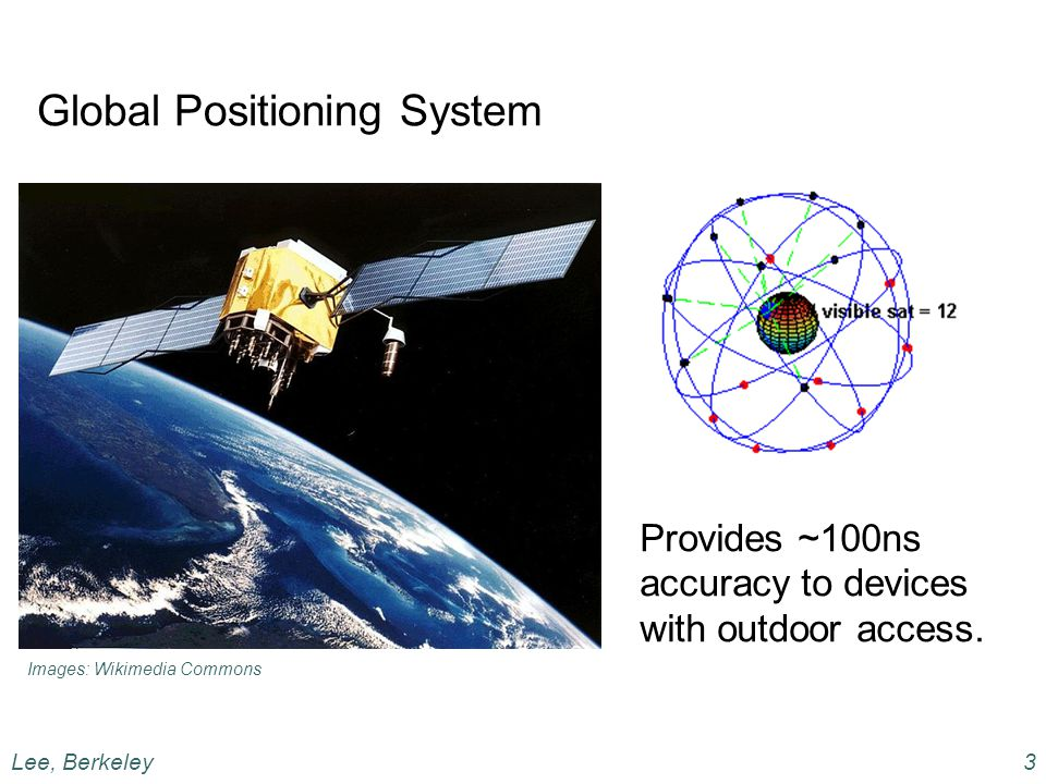 Global Positioning System Provides ~100ns accuracy to devices with outdoor access.