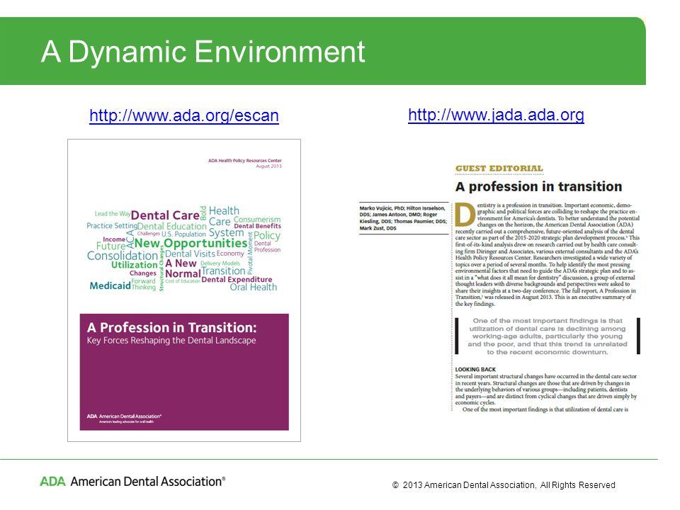 © 2013 American Dental Association, All Rights Reserved A Dynamic Environment http://www.ada.org/escan http://www.jada.ada.org