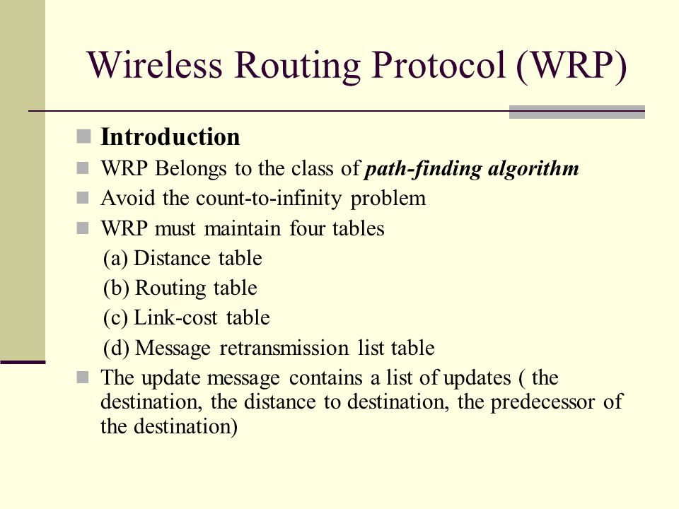 Wireless Routing Protocol (WRP) Introduction WRP Belongs to the class of path-finding algorithm Avoid the count-to-infinity problem WRP must maintain