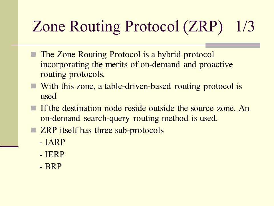 Zone Routing Protocol (ZRP) 1/3 The Zone Routing Protocol is a hybrid protocol incorporating the merits of on-demand and proactive routing protocols.