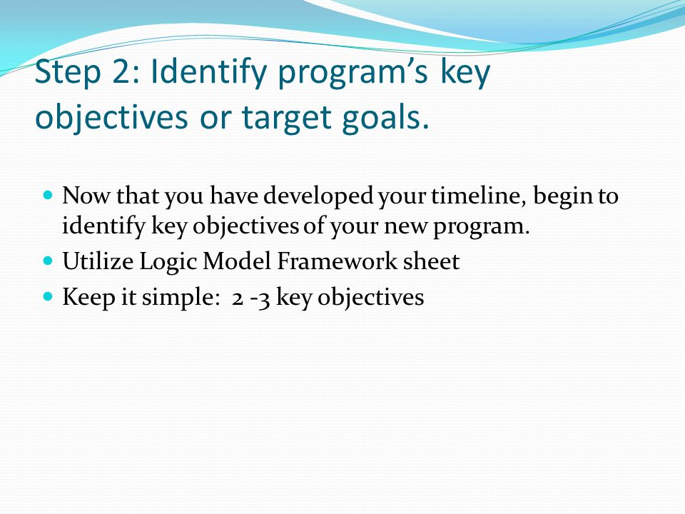 Step 2: Identify program's key objectives or target goals. Now that you have developed your timeline, begin to identify key objectives of your new pro
