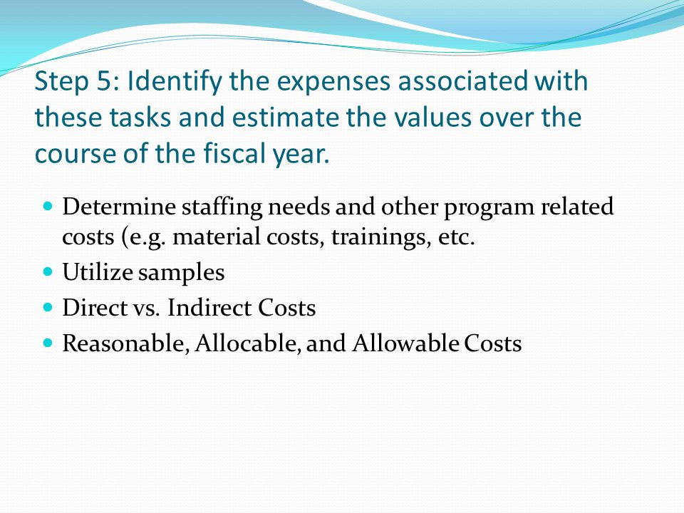 Step 5: Identify the expenses associated with these tasks and estimate the values over the course of the fiscal year. Determine staffing needs and oth