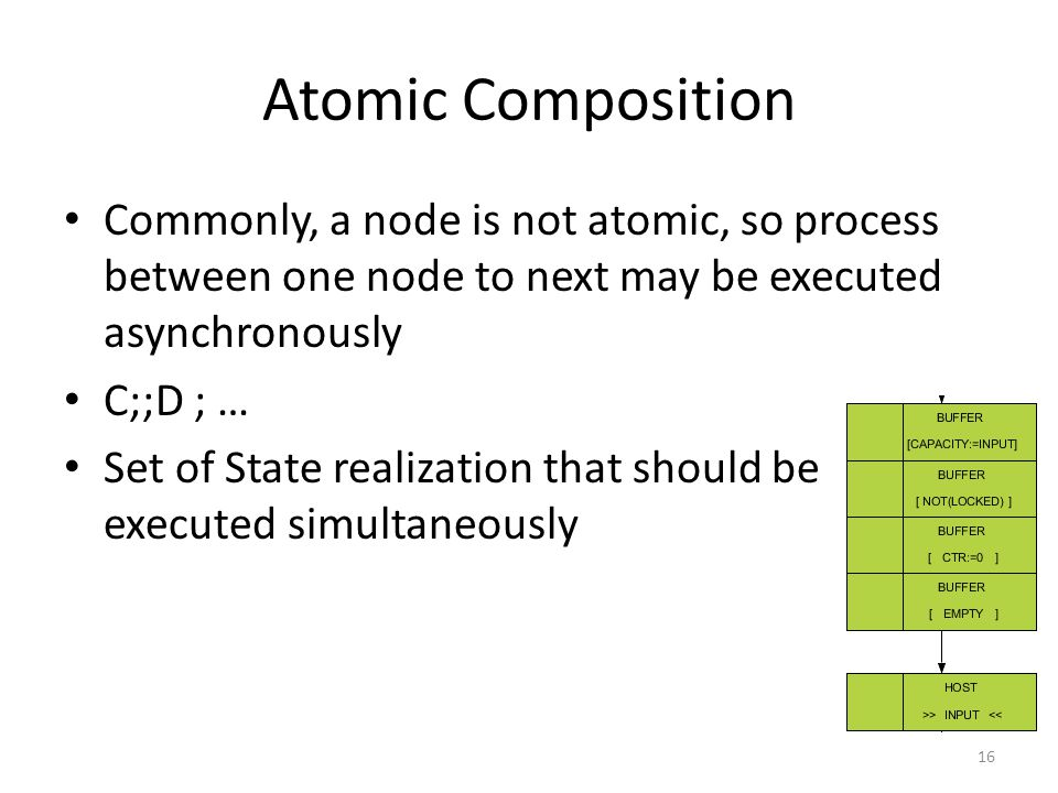 Atomic Composition Commonly, a node is not atomic, so process between one node to next may be executed asynchronously C;;D ; … Set of State realization that should be executed simultaneously 16