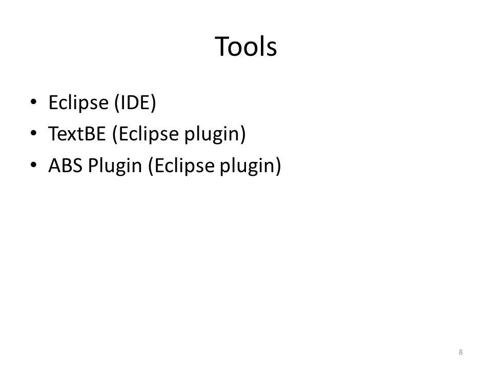Tools Eclipse (IDE) TextBE (Eclipse plugin) ABS Plugin (Eclipse plugin) 8