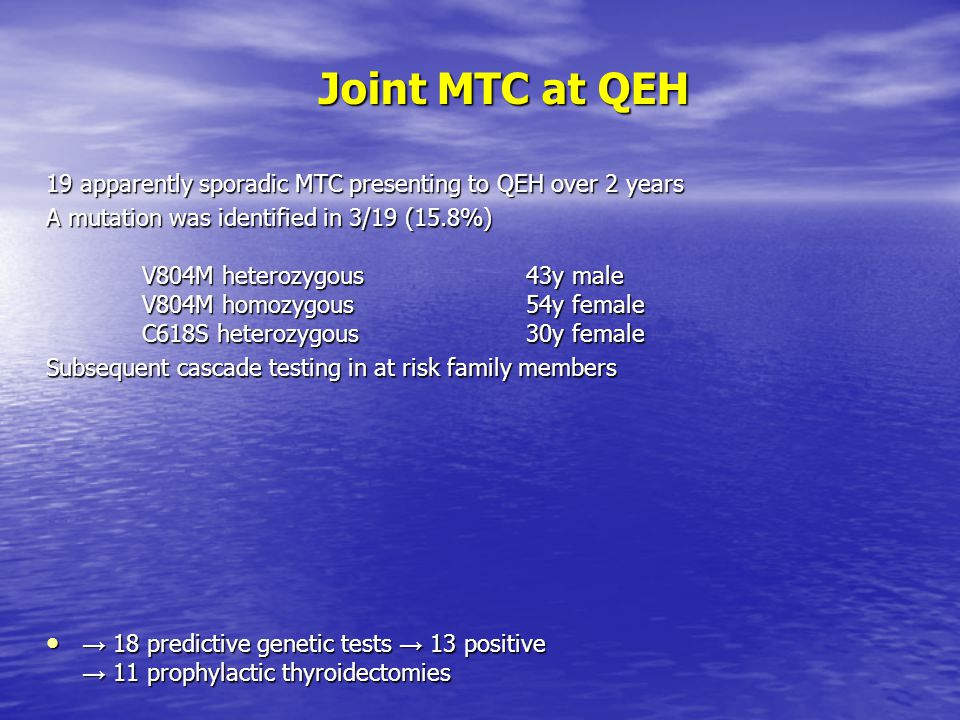 Joint MTC at QEH 19 apparently sporadic MTC presenting to QEH over 2 years A mutation was identified in 3/19 (15.8%) V804M heterozygous43y male V804M